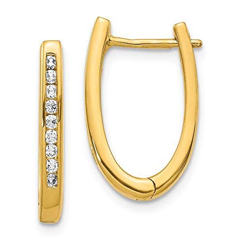 Pendientes de aro ovalados de oro amarillo de 14 quilates con diamante cultivado en laboratorio SI1/SI2, G-H