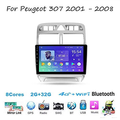 Android 10.0 Radio estéreo de Auto Doble DIN Coche para Peugeot 307 1 2001-2008 Jefe GPS Navigation Receptor Multimedia Digital Unidad 9 Pulgadas Reproductor de vídeo carplay DSP RDS