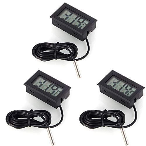 DollaTek Termometro Digitale per Monitor della Temperatura 3Pcs LCD con sonda Esterna per Frigorifero e congelatore per Acquario - Nero