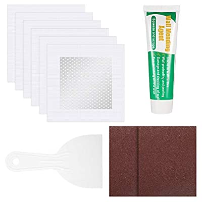 10 Pieces Drywall Repair Patch Kit Large Hole Wall Repair Kit, Includes 6 Pieces 4 Inch Aluminum Wall Repair Patch Self Adhesive Screen Patch with 1 Wall Repair Paste 1 Scraper 2 Sandpaper Sanding Pad