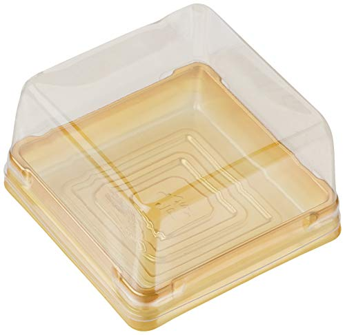 Single Clear Plastic Moon Cake Box for 75G Cake,Golden Color, 2.6 Inch Bottom, 50 Sets