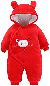 Baby Boys Girls Winter Warm Jumpsuit Snowsuit Hooded Cartoon Animal Faux Fur Down Jackets