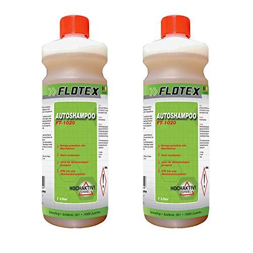 Flotex 2 botellas de 1 L de champú concentrado para coche, moto, camión y caravana. Lavado suave desde el exterior, nanotecnología y aroma fresco de naranja.