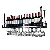 LXYPLM Étagère Casier vin Bouteille Plafond en métal fixé au Plafond en Verre de vin Suspendu décoration étagère Bar...
