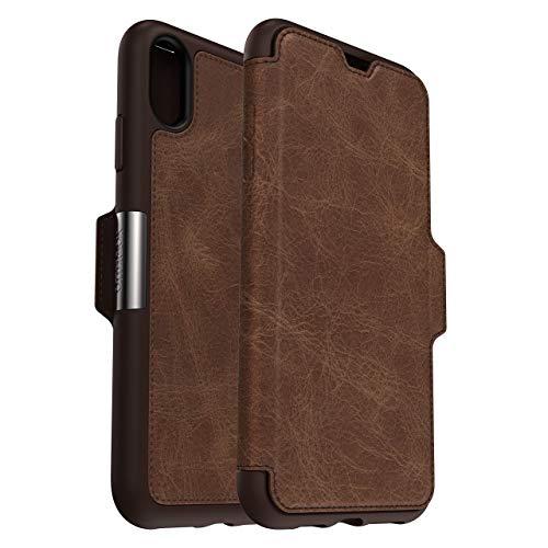 OtterBox Strada Etui - Elegante, sturzsichere Folio Schutzhülle aus echtem Leder für iPhone Xs Max, braun