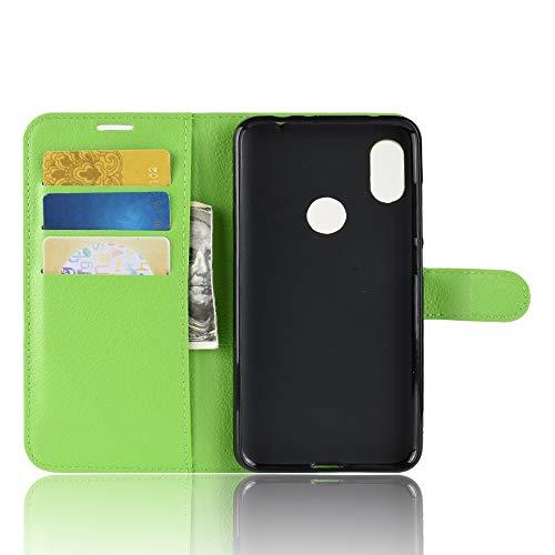 TenYll Hülle für Lenovo Z5s,Wallet Tasche PU Schutzhülle [Premium Leder] [Ultra Slim] [Card Slot] [Ständer] Flip Wallet Hülle Etui für Lenovo Z5s -Grün
