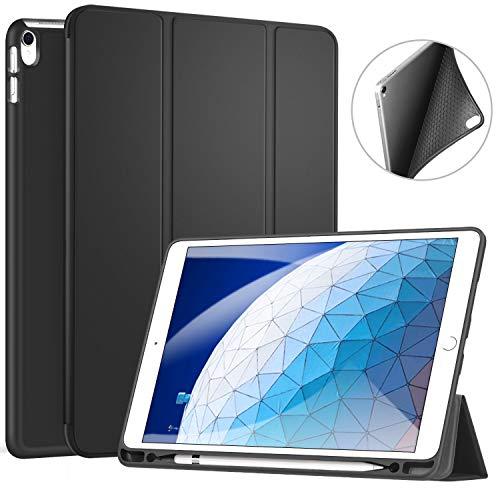ZtotopCase Hülle für iPad Air 10.5 2019(3. Generation) und iPad Pro 10,5 2017,Ultradünne Soft TPU Rückseite Abdeckung mit eingebautem iPad Stifthalter, mit Auto Schlaf-/Aufwachfunktion, Schwarz