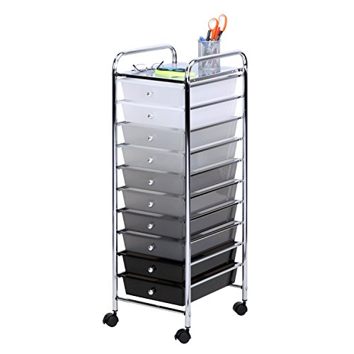 Honey-Can-Do CRT-05255 10 Drawer Shaded Storage cart, 12.6 in L x 15.31 in W x 38.1 in H, Multicolor/Gray/Black/White