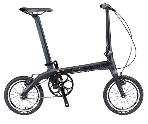 SAVADECK Z0 Faltrad 14 Zoll Carbon Klapprad Klappfahrrad Klappfahrräder mit Kohlefaser Rahmen Fixed Gear Single-Speed Fixie Städtischen Track Bike Mini Stadt Faltbare Fahrrad