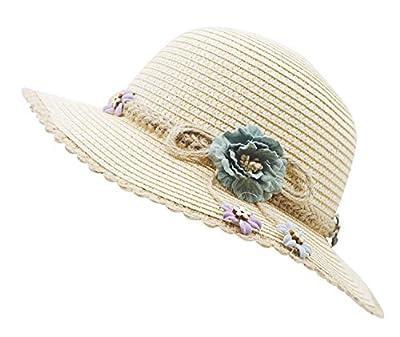 Bienvenu Kid Girl Straw Wide Brim Hat Summer Beach Hat Sun Protection,Knit Belt Style_Pink