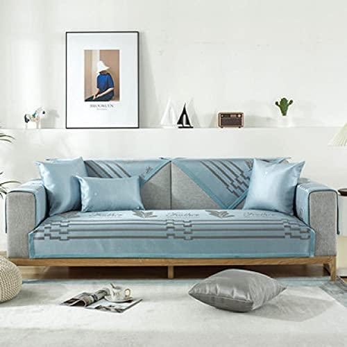 KENEL Funda Cubre Sofá, sofá Funda de 3 2 4 1 Plaza, Funda de sofá de terraza, Funda para Banco/Silla,para Mascotas niños niños Perro gato-110x210cm_Azul-b-Vendido en Pedazos
