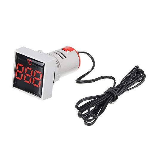 WFBD-CN Modulo elettronico Termometro Digitale LED Rosso Mini Quadrati di Cristallo Film Luce di Segnale AC 50-380V 220V del Tester di Temperatura Indicatore Gamma -20-200 □ con 5pcs 1m sensore