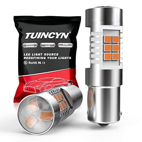 TUINCYN BAU15S Ampoules LED Ambre Clignotants Clignotants Lumière 7507 PY21W 12496 Feux De Frein Feux De Recul Feux Arrière Feux Arrière Feu Inverse DC 12V (Pack de 2)