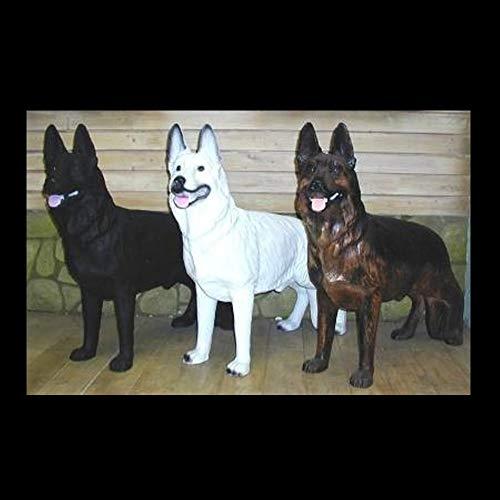XL Premium Schäferhund in lebensgross Steht 95 cm Hund Garten Deko Figur inkl. Spedition, Farbe: Braun