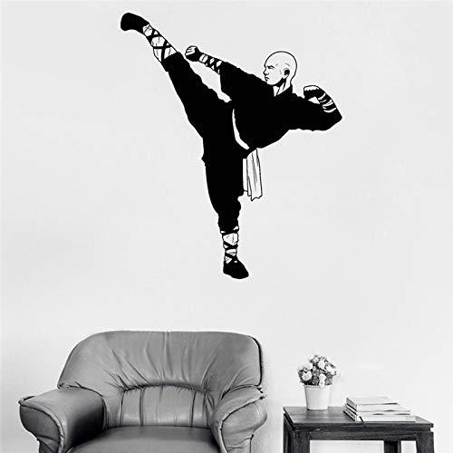 Nueva llegada pegatina chino Kung Fu Shaolin monje vinilo pared pegatina Samurai arte asiático pegatina vinilo adhesivo A9 42x50cm