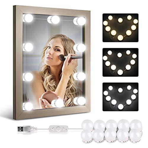 LED Spiegelleuchte von HOMEASY Dimmbar Spiegel Beleuchtung mit weißem Licht, natürlichem Licht und warmem Licht 10 Hollywood-Stil USB LED Spiegellampe Make-up Spiegel Glühbirnen