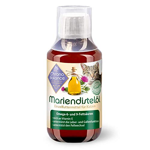 ChronoBalance® Mariendistel-Öl für Katzen - natürliche Nahrungsergänzung - unterstützt den Fellwechsel - reich an Vitamin E, Omega-6 und Omega-9 (100ml)