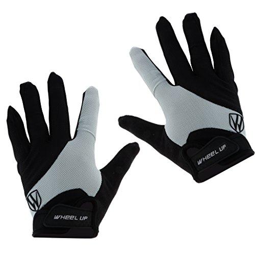 T TOOYFUL Winddichte Vollfinger Fahrradhandschuhe Gel MTB Bike Finger Touchscreen Handschuhe - Graue XXL