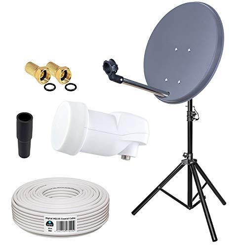 HB-Digital Camping Mini Sat Anlage 40cm Schüssel + ALU Dreibein Stativ + Opticum LNB 0,1 10m für HDTV UHD 3D 4K geeignet in Anthrazit