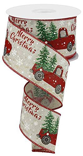 Christmas Vintage Truck Wired Burlap Ribbon : Red Green Brown 2.5' X 10 Yards