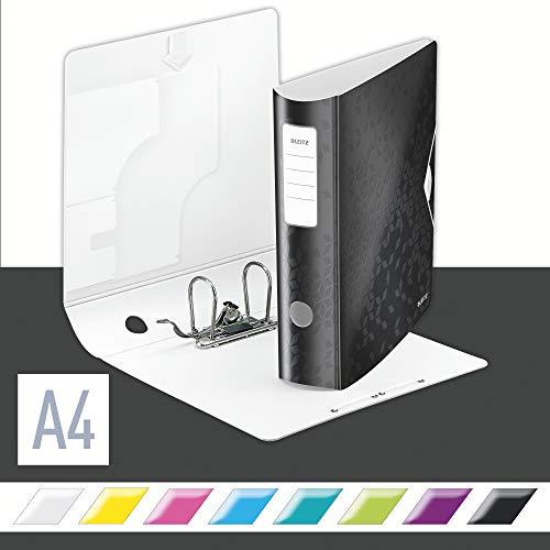 Leitz Qualitäts-Ordner 180° Active WOW, A4, Schwarz, 80 mm Rückenbreite, Gummibandverschluss, Leichtes Polyfoam, WOW, 11060095