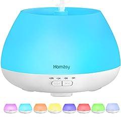 Idea Regalo - Homasy 500ml Diffusore di Oli Essenziali, 23dB diffusore di Aromi, Diffusore Oli Essenziali Ultrasuoni Fino a 20 Ore di Lavoro, Diffusore Ambiente Luci Notturne 8 Colori, Bianco