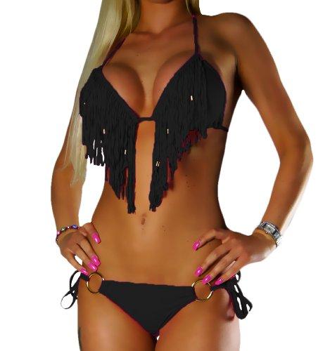 ALZORA Bikini Set Damen Tassel Fransen Fringe Ringe Push Up Set Top und Hose viele Modelle und Farben, 10209 (M, Schwarz mit Ring)