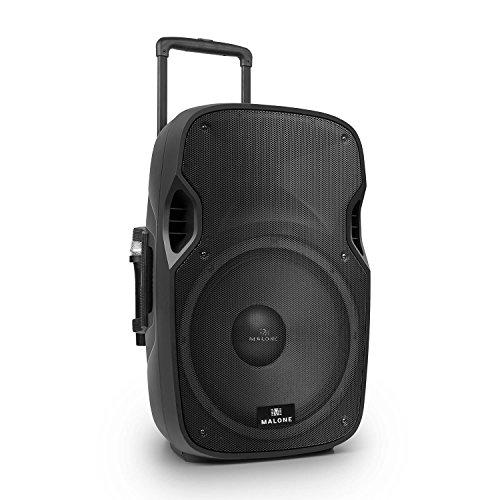 Malone PP-2915-BTR - aktive PA Box, PA-Anlage, PA-Lautsprecher, 900W Peak-Leistung, 15\'\'-Subwoofer, USB- / SD- / MMC-Port, 2 x VHF-Funkmikrofon, schwarz