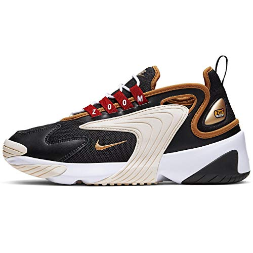 Nike Damen WMNS Zoom 2k Laufschuhe, Schwarz (Black/Metallic Gold/White/Sail 005), 37.5 EU
