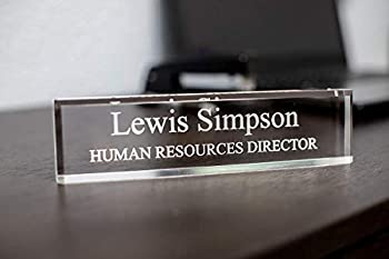 SignsByLITA Personalized Acrylic Desk Name Plate 2  x 10  - Office Desk Accessories Décor