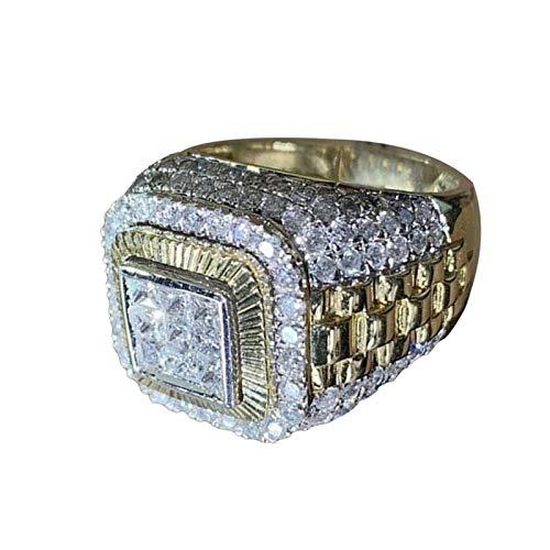geshiglobal Anillos para mujeres y niñas de lujo con incrustaciones de diamantes de imitación anillo de dedo Hip Hop joyería de compromiso regalo, Golden*US 6, Cobre, diamantes de imitación.,