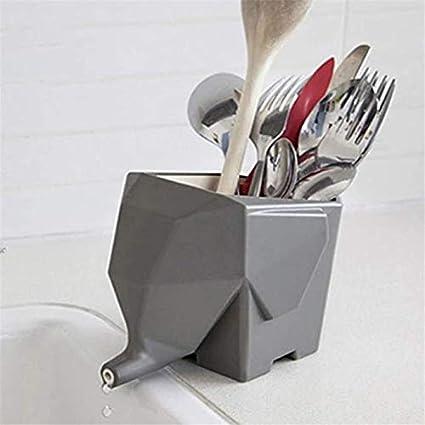 multifunzione scatola per bacchette 14.5*9.5*12CM bianco e grigio. porta spazzolino da denti portapenne da cucina Scolaposate a forma di elefante vaso per fiori