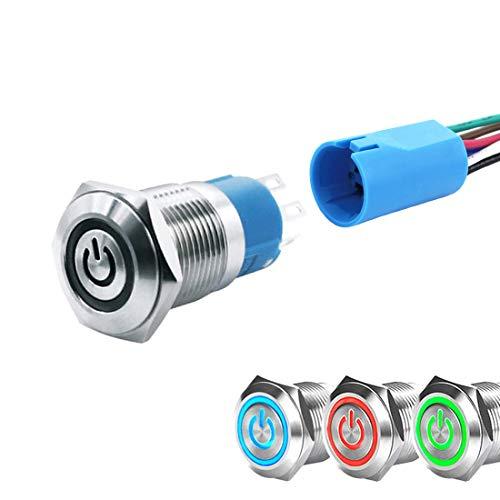 WerFamily Tricolor LED 16 mm Impermeable Metal redondo/momentáneo Tipo Pulsador Interruptor 7 pines 1NO 1NC con enchufe de alambre