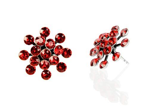 KONPLOTT Magic Fireball Classic Ohrstecker für Damen | Exklusive Designer-Ohrringe mit 32 Swarovski Steinen | Glamouröser Ohrschmuck passend zu jedem Anlass | Handgefertigter Damen-Schmuck | Rot