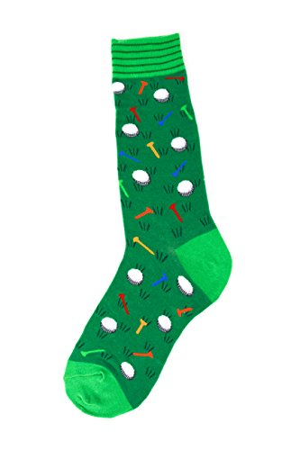 Foot Traffic Men's Socks, Fun Sports-Themed Socks, Sizes 7–12 (Golf)