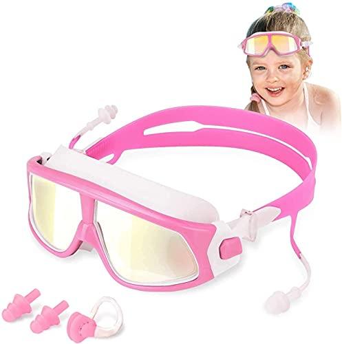 Barn simglasögon, Anti-Fog Inga läckande skyddsglasögon UV-skydd med öronproppar och näsklämma Tydliga vanliga simglasögon
