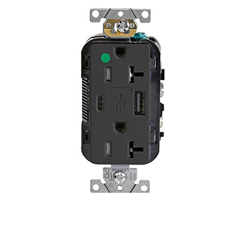 Leviton T5833-HGE Heavy-Duty Hospital Grade, Tamper Resistant, Type A-C USB Charger Receptacles, 20 Amp, Black