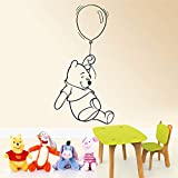Peel and Stick Removable Wall Stickers Winnie The Pooh with Balloon Kids Boys Girls Bedroom Baby Nursery for Living Room for Bedroom for Nursery Kids Room