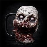 HeiHeiDa Halloween Horror Zombie Wein Tasse, 3D Harz Zombie Kaffee Becher Schädel Tasse Scary Blutig Kopf Mug Krug Trinken Tee Tasse, Creepy Halloween Hause Dekorative Requisiten