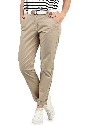 DESIRES Chakira Damen Chino Hose Stoffhose Mit Gürtel Aus Stretch-Material Slim Fit, Größe:38, Farbe:Simple Taupe (0162)