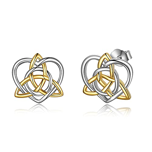 Celtic Earring Sterling Silver Celtic Earrings Hypoallergenic Triquetra Trinity Knot Stud Earrings for Women Girls, Christmas Gifts for Her