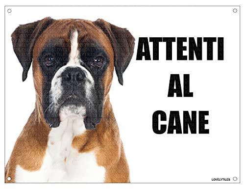 BOXER attenti al cane mod 4 TARGA cartello IN METALLO (15X20)