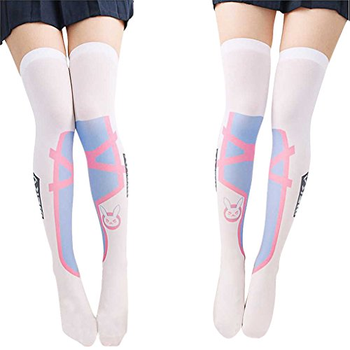 SzBlaZe Women's Cute Kawaii Thin Anime Print Over the Knee Socks Stockings (Pack of 1 Pair), D.va Print 1, One Size For 35 to 38