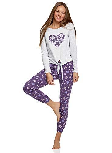 oodji Ultra Mujer Pijama de Algodón con Pantalones, Morado, ES 40 / M