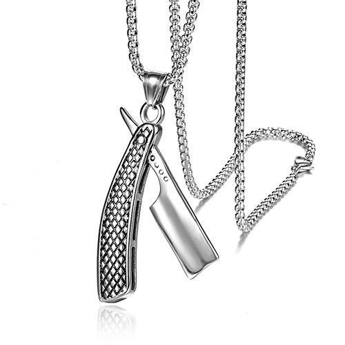 Collar del Acero Inoxidable del Peluquero De La Joyería Pendiente del Collar, Los Hombres Collar De Peluquería Regalo De Plata Accesorios Ropa,Plata