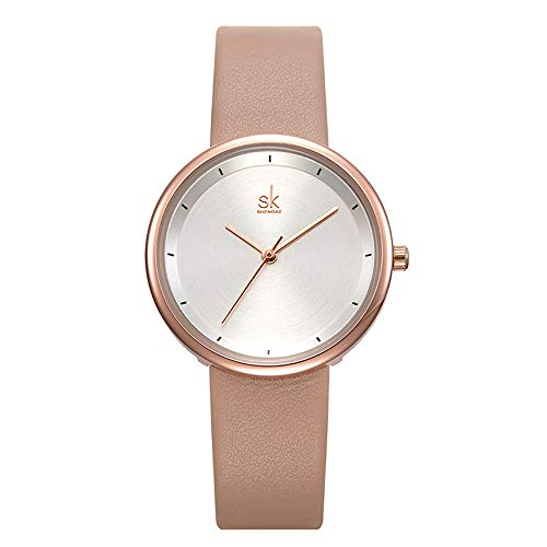 SHENGKE Minimalista de las mujeres relojes de pulsera de cuero cuarzo analógico casual moda reloj de mujer