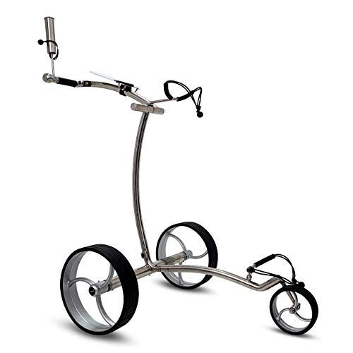 tour-made Haicaddy® HC7S Travel PRO Edelstahl Lithium Elektro Golftrolley - mit elektronischer Bergabfahrbremse (Rahmen Curved)