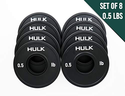 Hulk Olympic Fractional Plates - Micro Weight Set of 8 x 0.5 Pound Plates for Barbell or Dumbbell