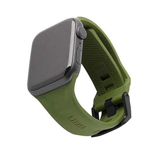 Urban Armor Gear Scout Bracciale per Apple Watch 42mm / 44mm [Serie 5 / Serie 4 / Serie 3 / Serie 2 / Serie 1, cinturino di ricambio in silicone morbido, chiusura in acciaio inossidabile] - oliva