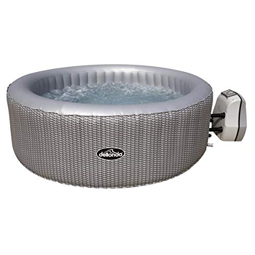 Dellonda 4-6 Person Inflatable Hot Tub Spa with Smart Pump - Grey Rattan Effect